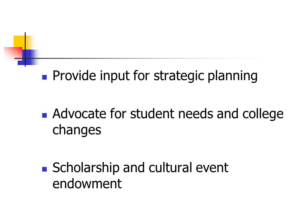 Provide input for strategic planning Advocate for student needs and college changes Scholarship and cultural event endowment