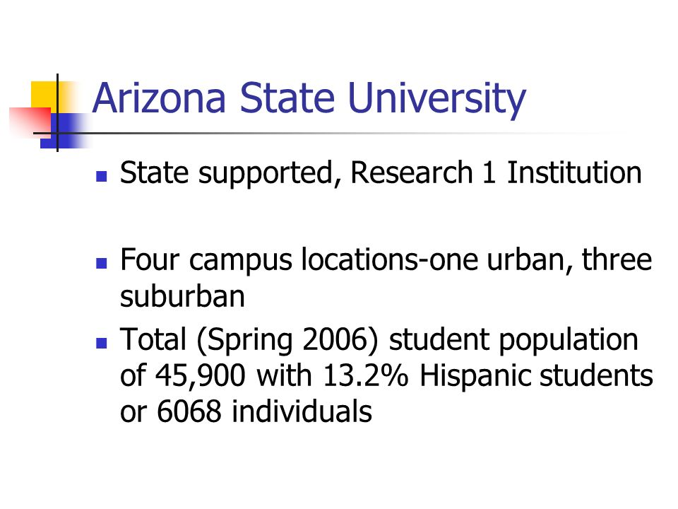Arizona State University State supported, Research 1 Institution Four campus locations-one urban, three suburban Total (Spring 2006) student population of 45,900 with 13.2% Hispanic students or 6068 individuals