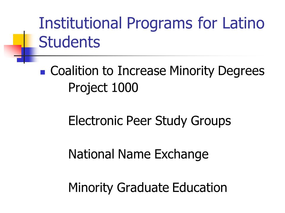 Institutional Programs for Latino Students Coalition to Increase Minority Degrees Project 1000 Electronic Peer Study Groups National Name Exchange Minority Graduate Education