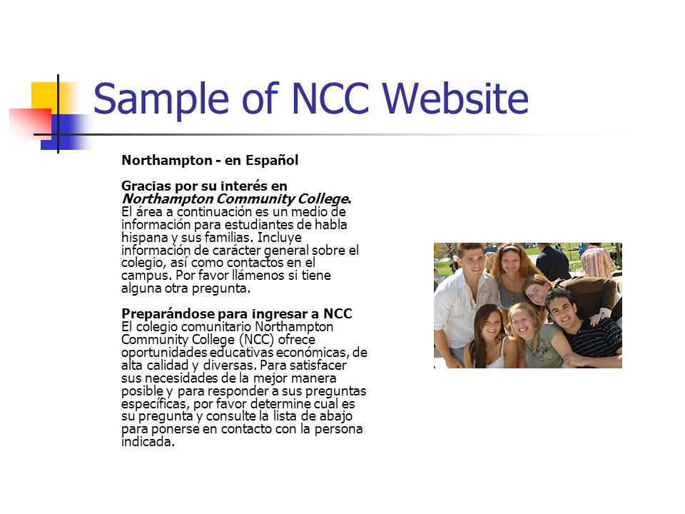 Sample of NCC Website Northampton - en Español Gracias por su interés en Northampton Community College.