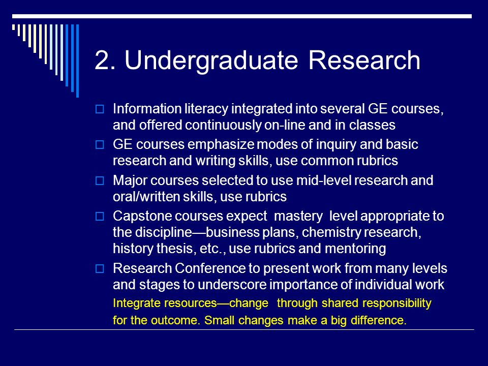 2. Undergraduate Research Information literacy integrated into several GE courses, and offered continuously on-line and in classes GE courses emphasiz