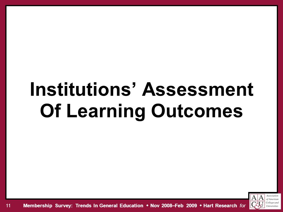 Membership Survey: Trends In General Education Nov 2008–Feb 2009 Hart Research for 11 Institutions Assessment Of Learning Outcomes