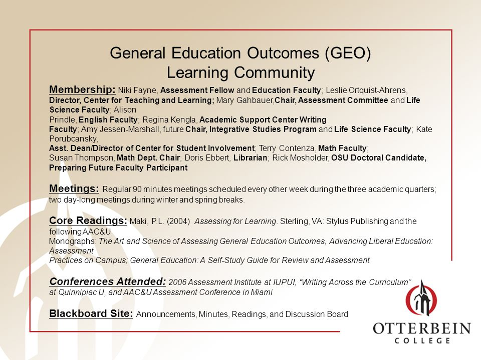 General Education Outcomes (GEO) Learning Community Membership: Niki Fayne, Assessment Fellow and Education Faculty; Leslie Ortquist-Ahrens, Director, Center for Teaching and Learning; Mary Gahbauer,Chair, Assessment Committee and Life Science Faculty; Alison Prindle, English Faculty; Regina Kengla, Academic Support Center Writing Faculty; Amy Jessen-Marshall, future Chair, Integrative Studies Program and Life Science Faculty; Kate Porubcansky, Asst.