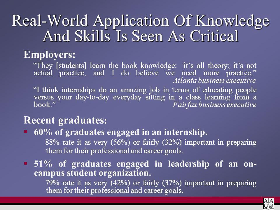 Real-World Application Of Knowledge And Skills Is Seen As Critical Employers: They [students] learn the book knowledge: its all theory; its not actual practice, and I do believe we need more practice.