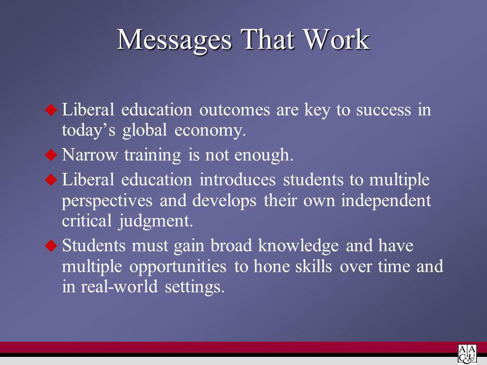Messages That Work Liberal education outcomes are key to success in todays global economy.