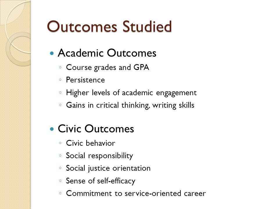 Outcomes Studied Academic Outcomes Course grades and GPA Persistence Higher levels of academic engagement Gains in critical thinking, writing skills C