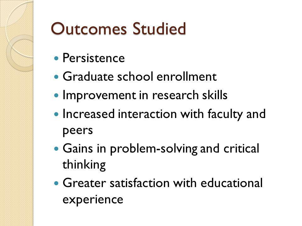 Outcomes Studied Persistence Graduate school enrollment Improvement in research skills Increased interaction with faculty and peers Gains in problem-solving and critical thinking Greater satisfaction with educational experience