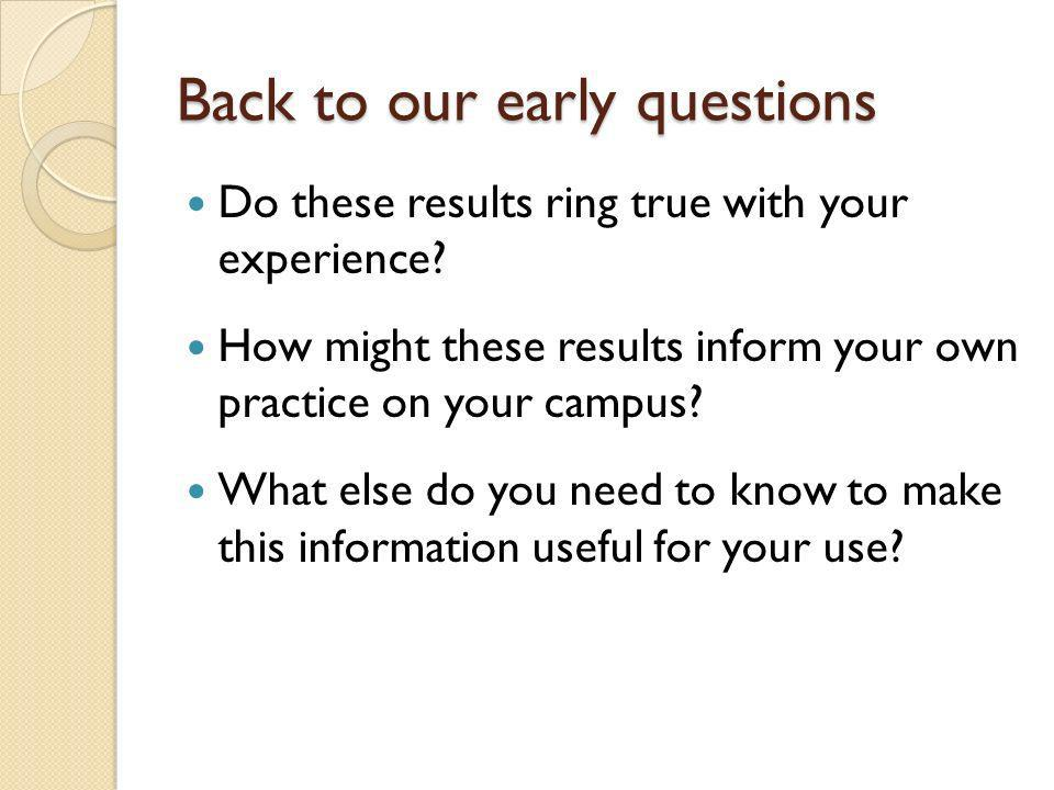 Back to our early questions Do these results ring true with your experience? How might these results inform your own practice on your campus? What els