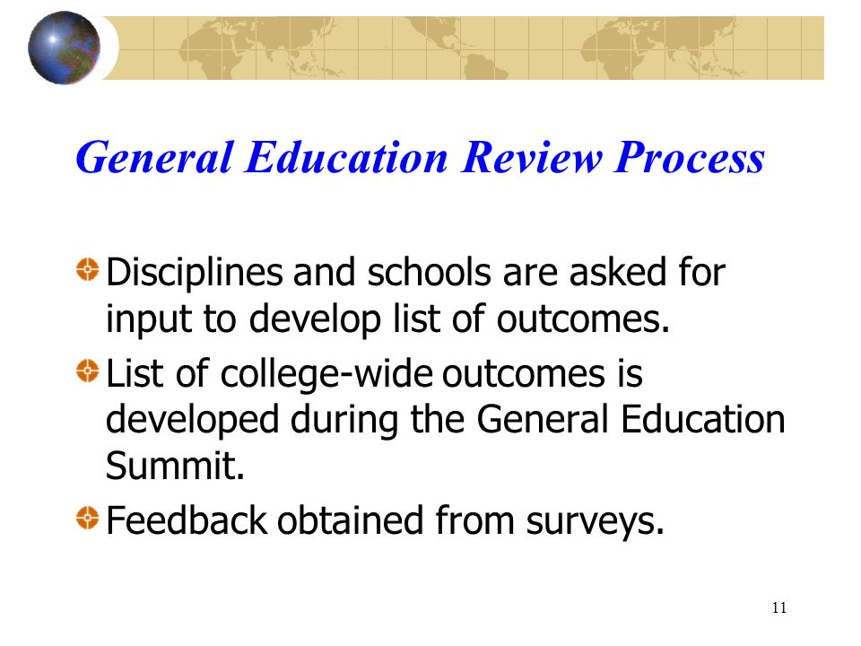 11 Disciplines and schools are asked for input to develop list of outcomes.