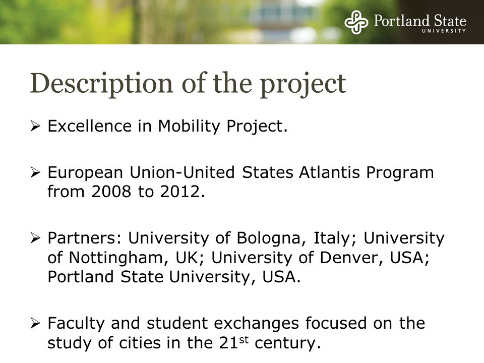Description of the project Excellence in Mobility Project.