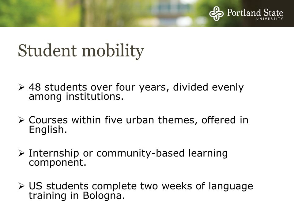Student mobility 48 students over four years, divided evenly among institutions.