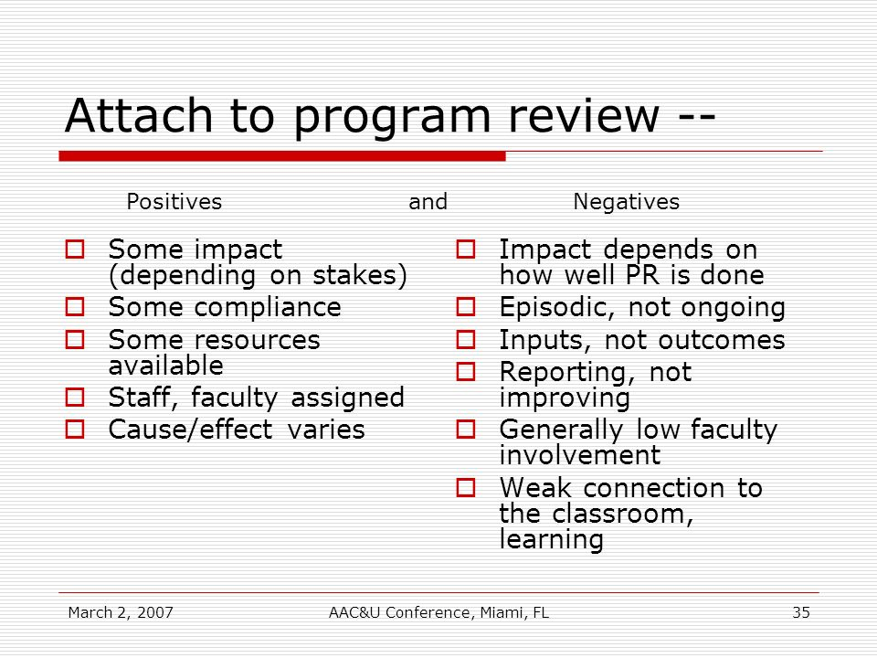 March 2, 2007AAC&U Conference, Miami, FL35 Attach to program review -- Some impact (depending on stakes) Some compliance Some resources available Staff, faculty assigned Cause/effect varies Impact depends on how well PR is done Episodic, not ongoing Inputs, not outcomes Reporting, not improving Generally low faculty involvement Weak connection to the classroom, learning Positives and Negatives