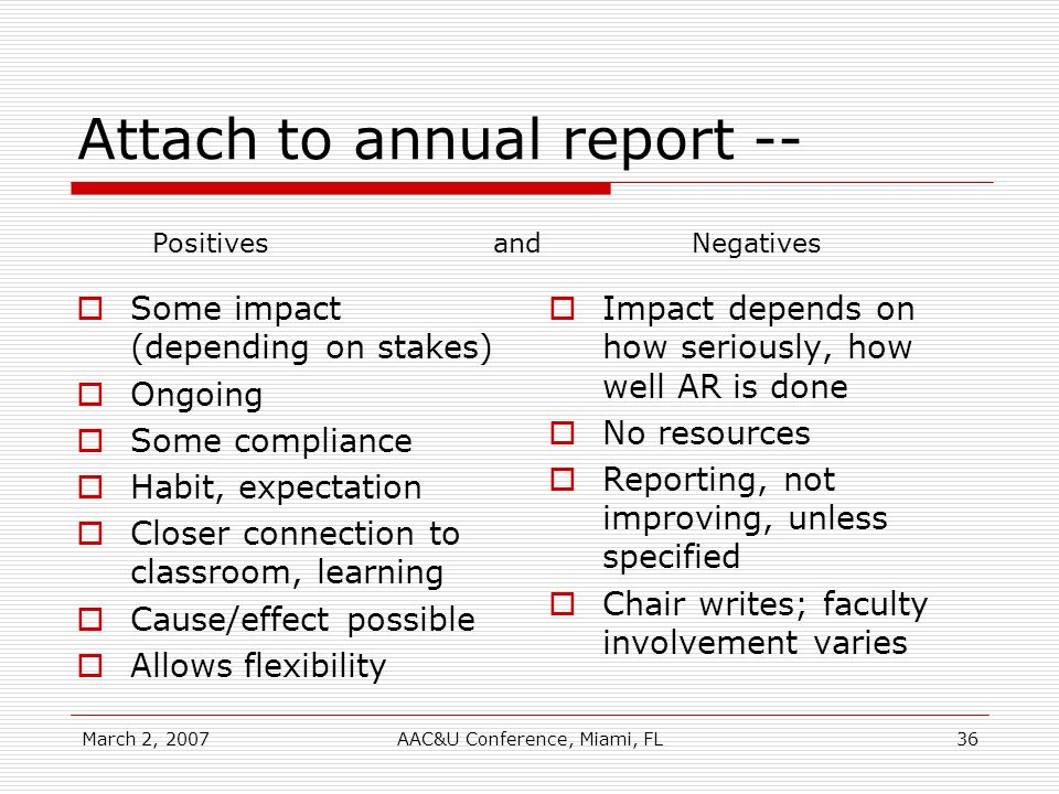 March 2, 2007AAC&U Conference, Miami, FL36 Attach to annual report -- Some impact (depending on stakes) Ongoing Some compliance Habit, expectation Closer connection to classroom, learning Cause/effect possible Allows flexibility Impact depends on how seriously, how well AR is done No resources Reporting, not improving, unless specified Chair writes; faculty involvement varies Positives and Negatives