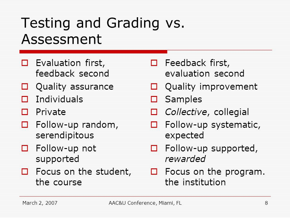 March 2, 2007AAC&U Conference, Miami, FL8 Testing and Grading vs. Assessment Evaluation first, feedback second Quality assurance Individuals Private F