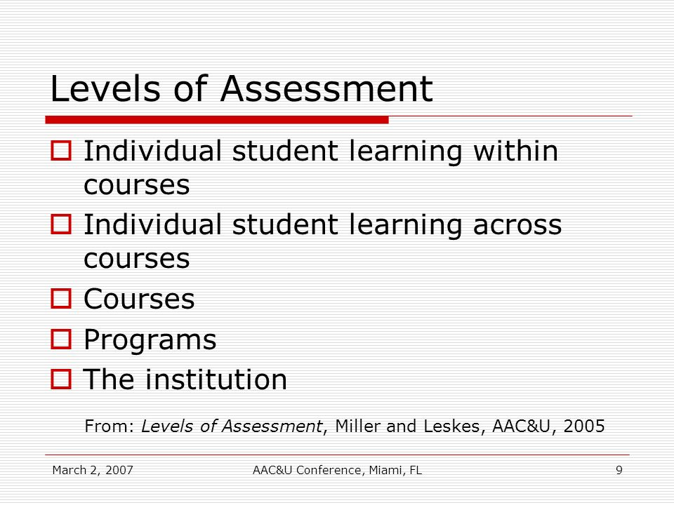 March 2, 2007AAC&U Conference, Miami, FL9 Levels of Assessment Individual student learning within courses Individual student learning across courses C