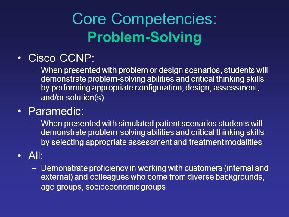 Core Competencies: Discipline-specific knowledge/skills includes teamwork and productivity Aviation Maintenance: –Evaluate the requirements of a maintenance task and complete it in a timely manner meeting industry standards Office Administration: –Demonstrate the ability to prioritize projects and assignments, use effective time management techniques, and employ effective records management techniques Cosmetology: –Demonstrate leadership and exemplary interpersonal skills while performing in groups simulating salon settings