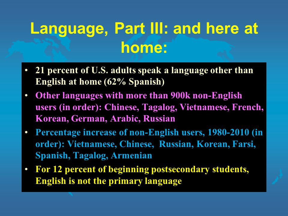 Language, Part III: and here at home: 21 percent of U.S.
