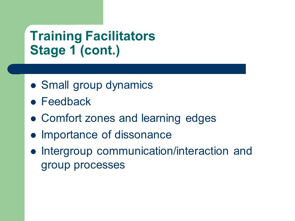 Training Facilitators Stage 1 (cont.) Small group dynamics Feedback Comfort zones and learning edges Importance of dissonance Intergroup communication/interaction and group processes