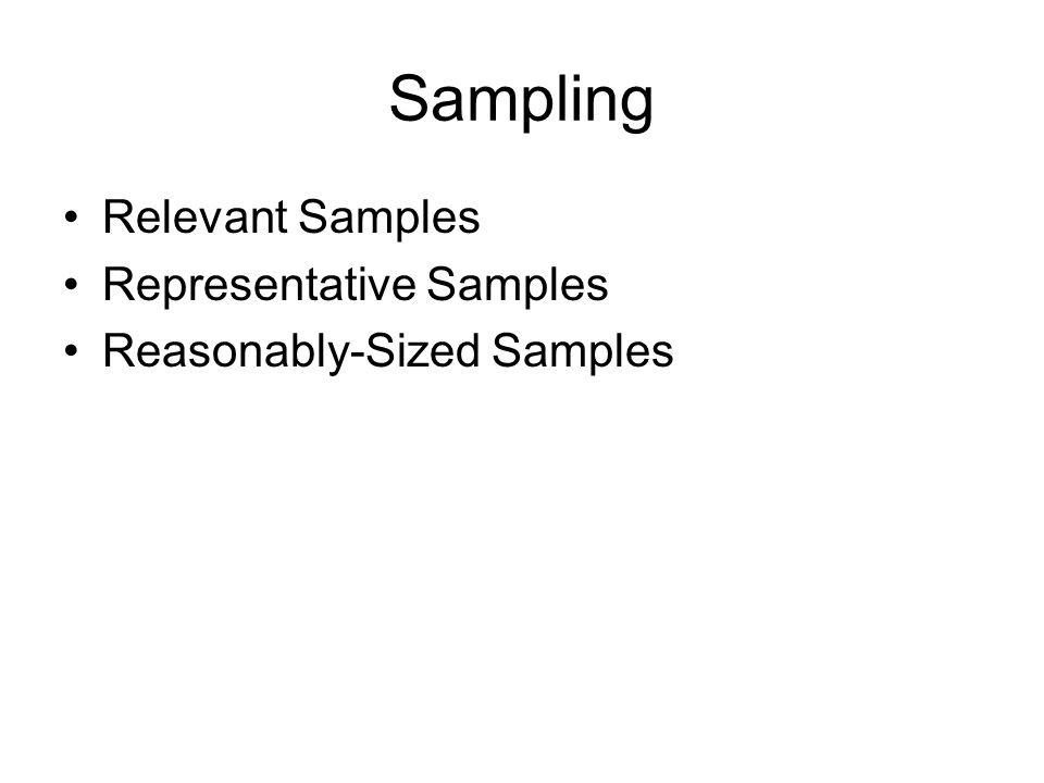 Sampling Relevant Samples Representative Samples Reasonably-Sized Samples