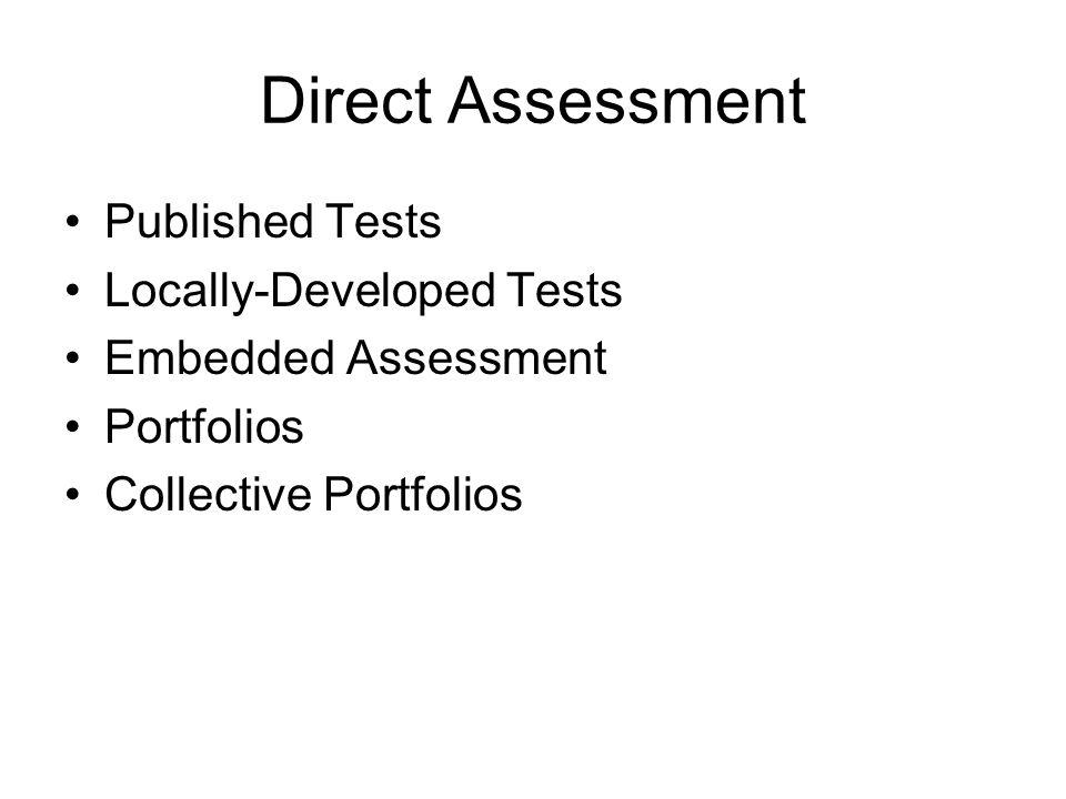 Direct Assessment Published Tests Locally-Developed Tests Embedded Assessment Portfolios Collective Portfolios