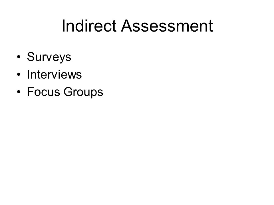 Indirect Assessment Surveys Interviews Focus Groups