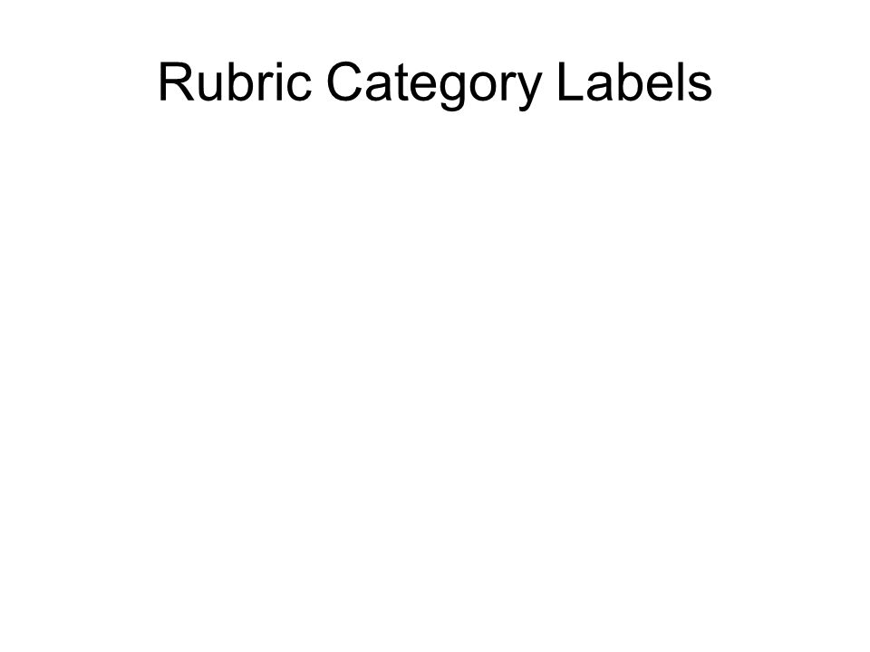 Rubric Category Labels