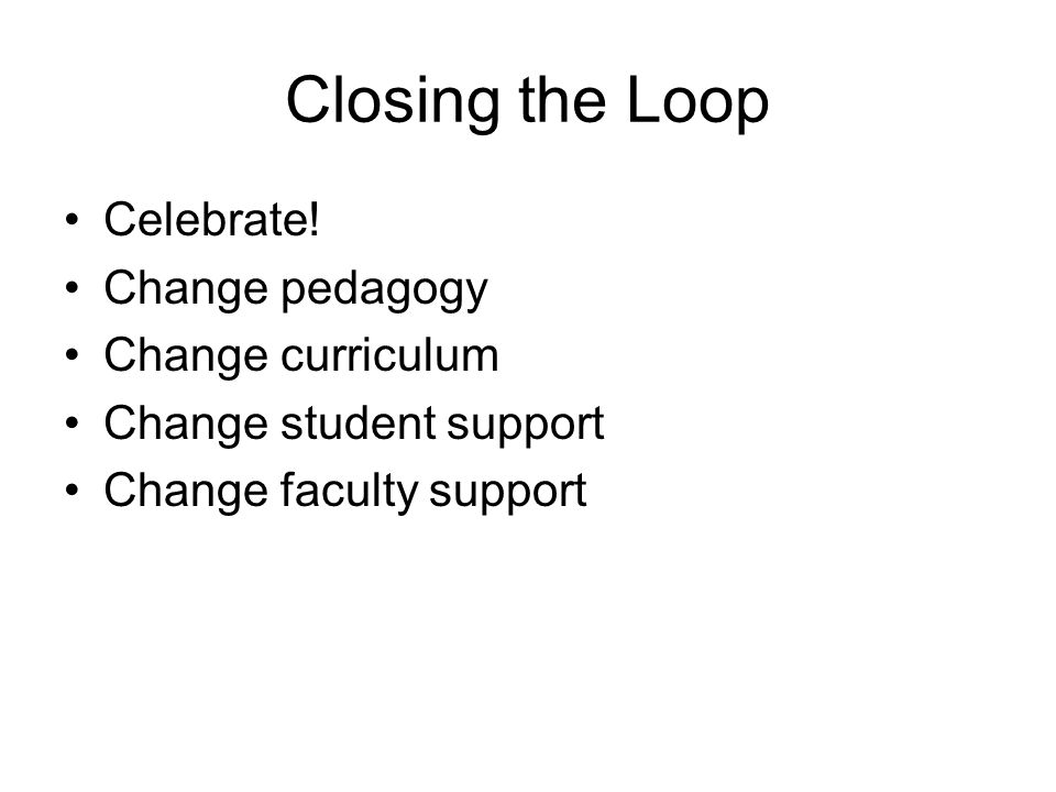 Closing the Loop Celebrate! Change pedagogy Change curriculum Change student support Change faculty support