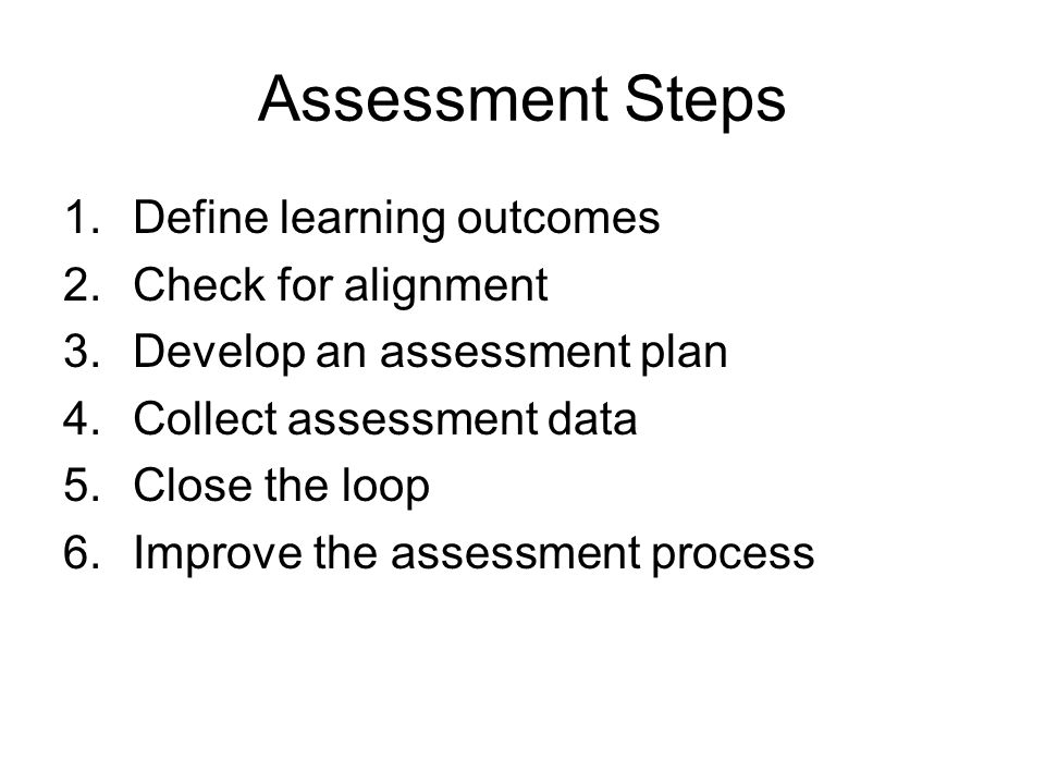 Assessment Steps 1.Define learning outcomes 2.Check for alignment 3.Develop an assessment plan 4.Collect assessment data 5.Close the loop 6.Improve th