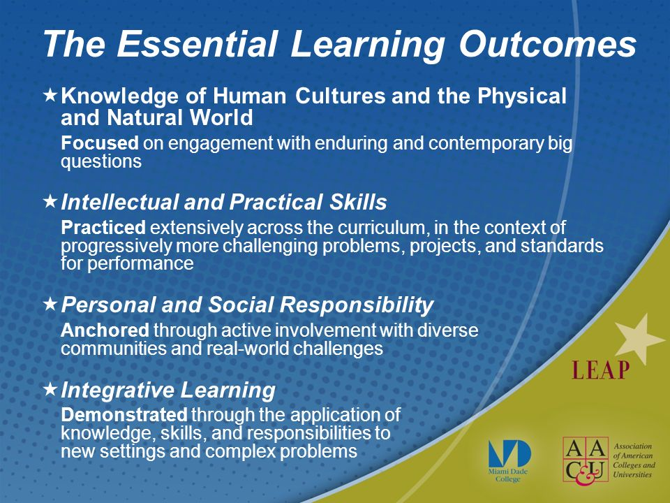 The Essential Learning Outcomes Knowledge of Human Cultures and the Physical and Natural World Focused on engagement with enduring and contemporary big questions Intellectual and Practical Skills Practiced extensively across the curriculum, in the context of progressively more challenging problems, projects, and standards for performance Personal and Social Responsibility Anchored through active involvement with diverse communities and real-world challenges Integrative Learning Demonstrated through the application of knowledge, skills, and responsibilities to new settings and complex problems