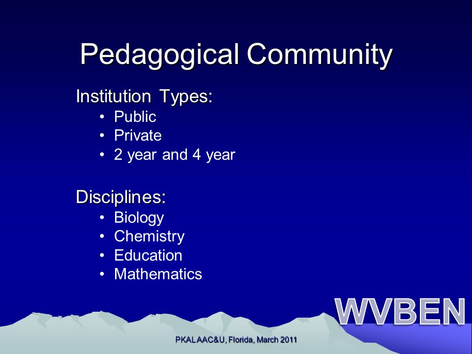 Pedagogical Community Institution Types: Public Private 2 year and 4 yearDisciplines: Biology Chemistry Education Mathematics PKAL AAC&U, Florida, March 2011