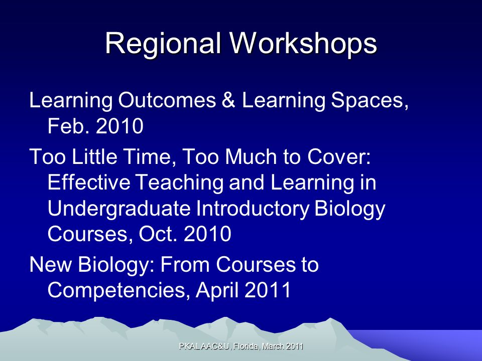 Regional Workshops Learning Outcomes & Learning Spaces, Feb.