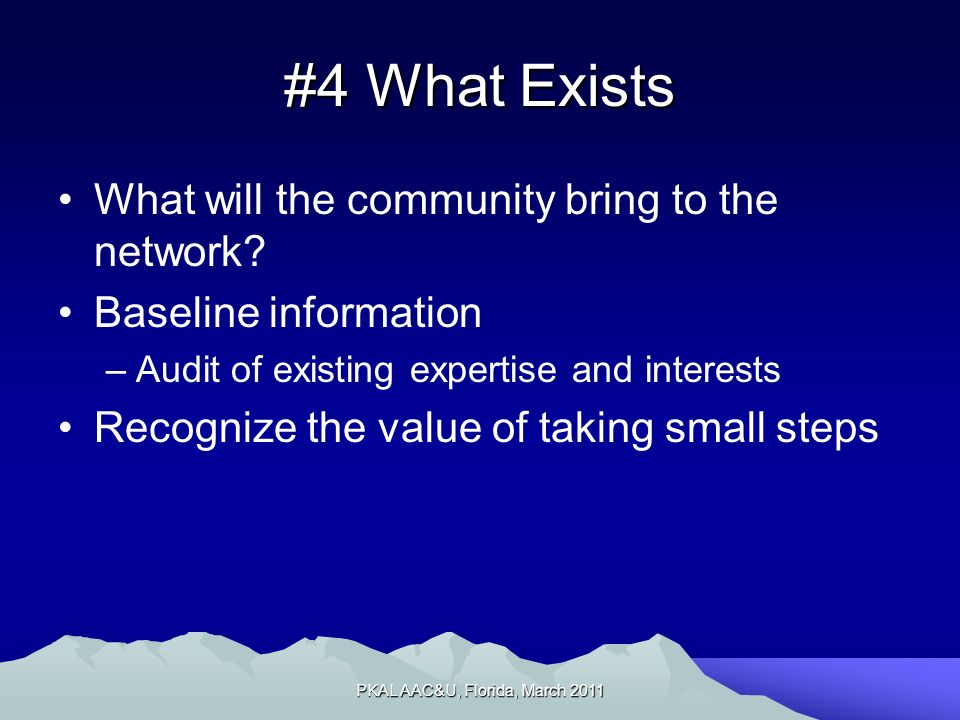 #4 What Exists What will the community bring to the network.