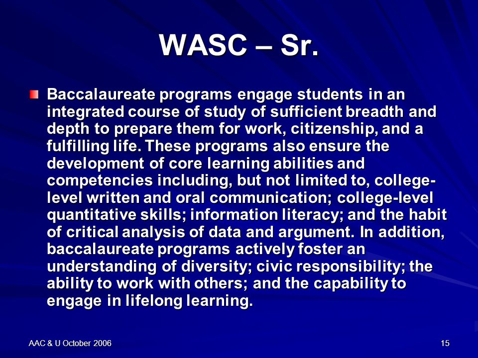 AAC & U October 200615 WASC – Sr.