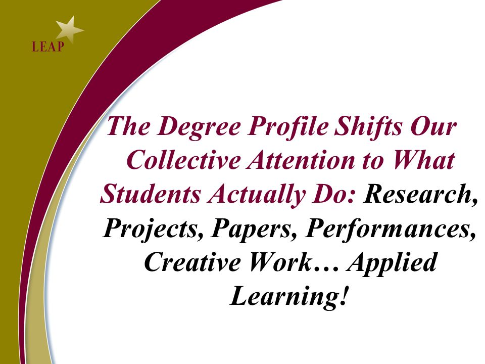 The Degree Profile Shifts Our Collective Attention to What Students Actually Do: Research, Projects, Papers, Performances, Creative Work… Applied Lear