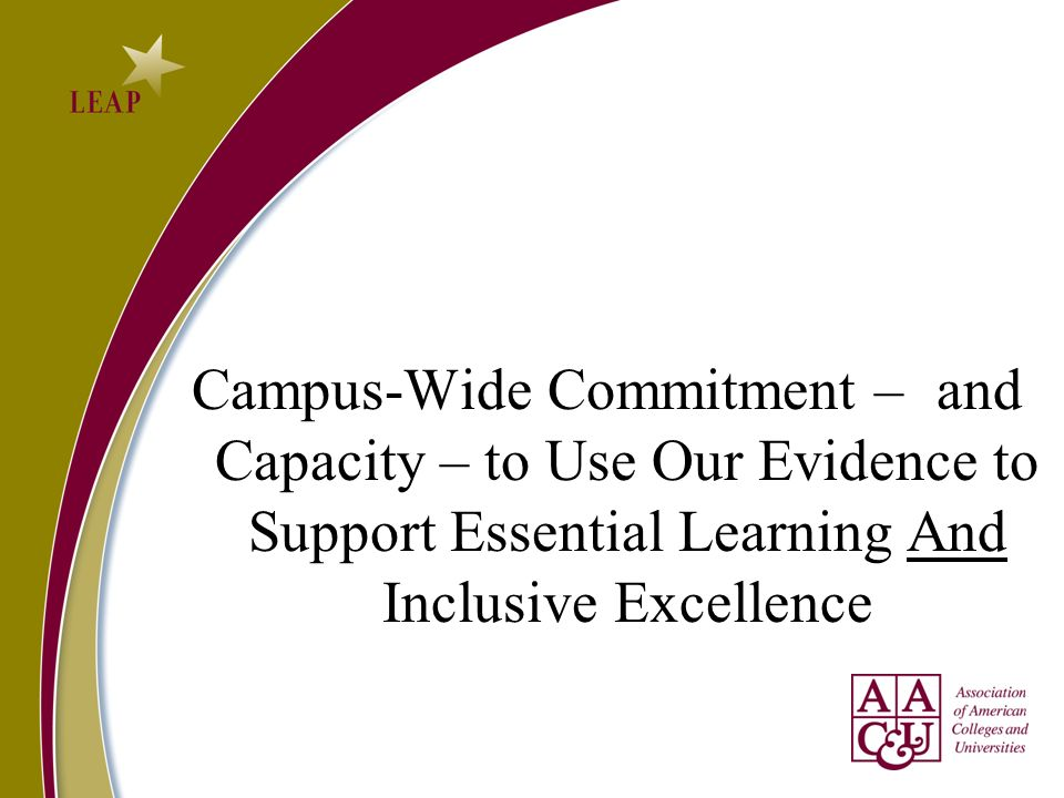 Campus-Wide Commitment – and Capacity – to Use Our Evidence to Support Essential Learning And Inclusive Excellence