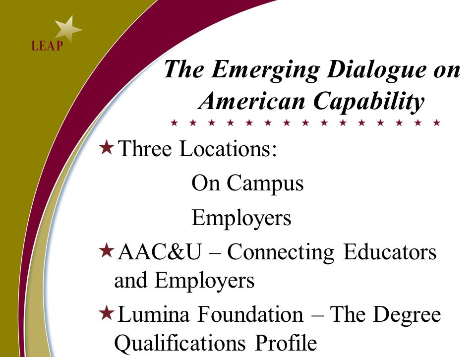 The Emerging Dialogue on American Capability Three Locations: On Campus Employers AAC&U – Connecting Educators and Employers Lumina Foundation – The D