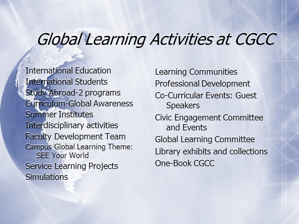 Global Learning Activities at CGCC International Education International Students Study Abroad-2 programs Curriculum-Global Awareness Summer Institute