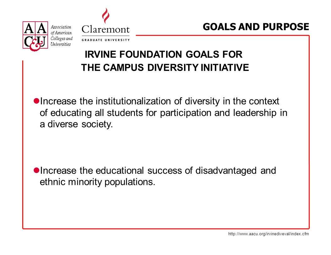 IRVINE FOUNDATION GOALS FOR THE CAMPUS DIVERSITY INITIATIVE Increase the institutionalization of diversity in the context of educating all students fo