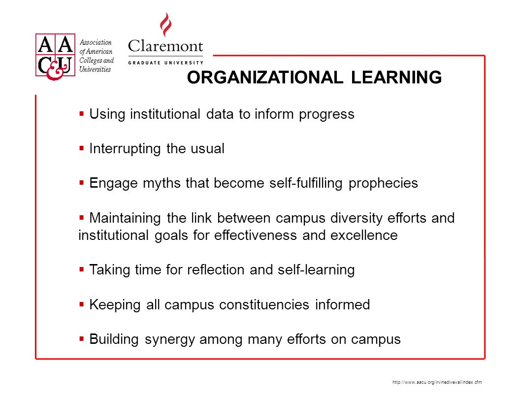 ORGANIZATIONAL LEARNING http://www.aacu.org/irvinediveval/index.cfm Using institutional data to inform progress Interrupting the usual Engage myths that become self-fulfilling prophecies Maintaining the link between campus diversity efforts and institutional goals for effectiveness and excellence Taking time for reflection and self-learning Keeping all campus constituencies informed Building synergy among many efforts on campus