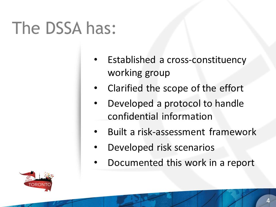 The DSSA has: Established a cross-constituency working group Clarified the scope of the effort Developed a protocol to handle confidential information