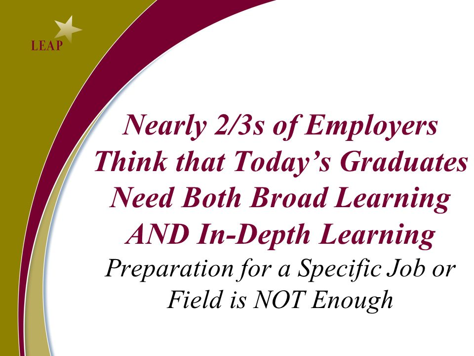 Nearly 2/3s of Employers Think that Todays Graduates Need Both Broad Learning AND In-Depth Learning Preparation for a Specific Job or Field is NOT Enough