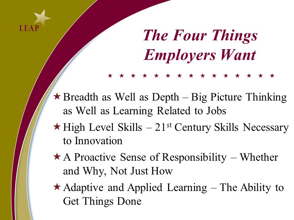The Four Things Employers Want Breadth as Well as Depth – Big Picture Thinking as Well as Learning Related to Jobs High Level Skills – 21 st Century Skills Necessary to Innovation A Proactive Sense of Responsibility – Whether and Why, Not Just How Adaptive and Applied Learning – The Ability to Get Things Done