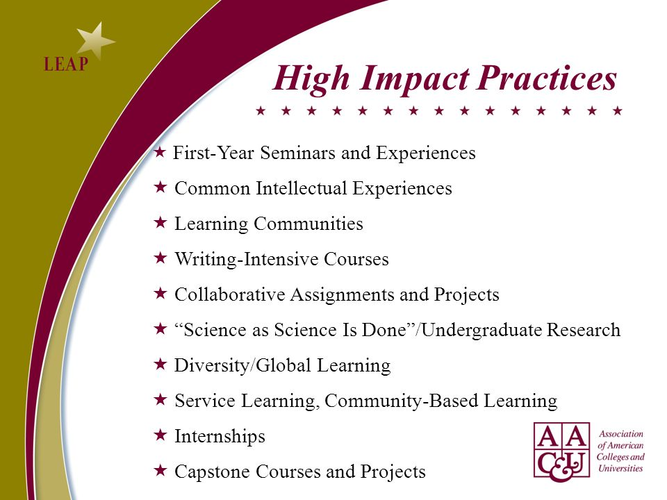High Impact Practices First-Year Seminars and Experiences Common Intellectual Experiences Learning Communities Writing-Intensive Courses Collaborative Assignments and Projects Science as Science Is Done/Undergraduate Research Diversity/Global Learning Service Learning, Community-Based Learning Internships Capstone Courses and Projects