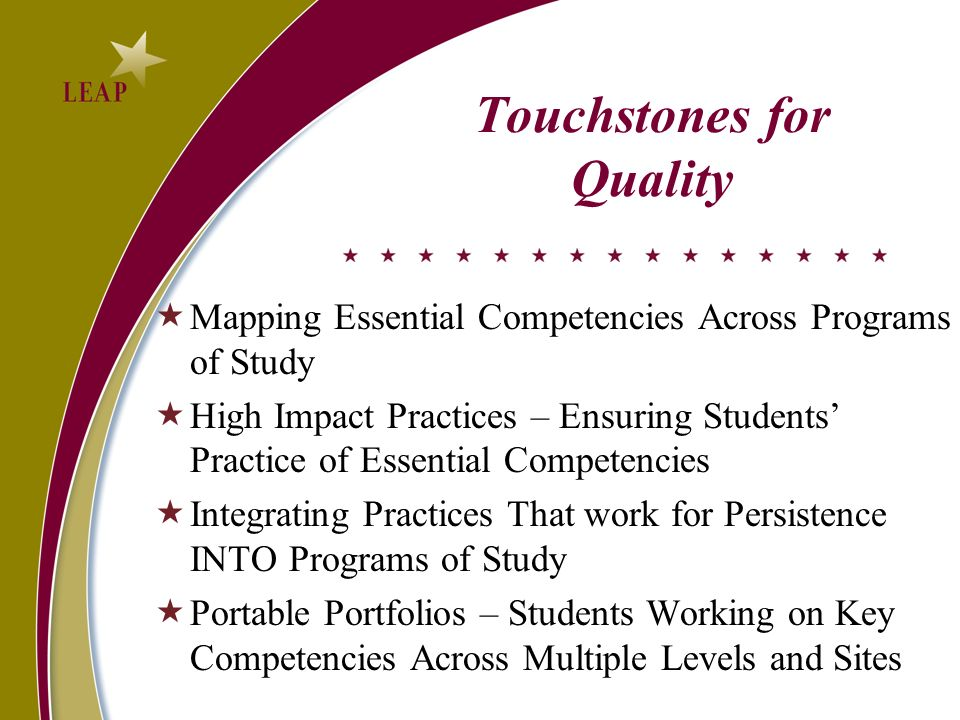 Touchstones for Quality Mapping Essential Competencies Across Programs of Study High Impact Practices – Ensuring Students Practice of Essential Competencies Integrating Practices That work for Persistence INTO Programs of Study Portable Portfolios – Students Working on Key Competencies Across Multiple Levels and Sites