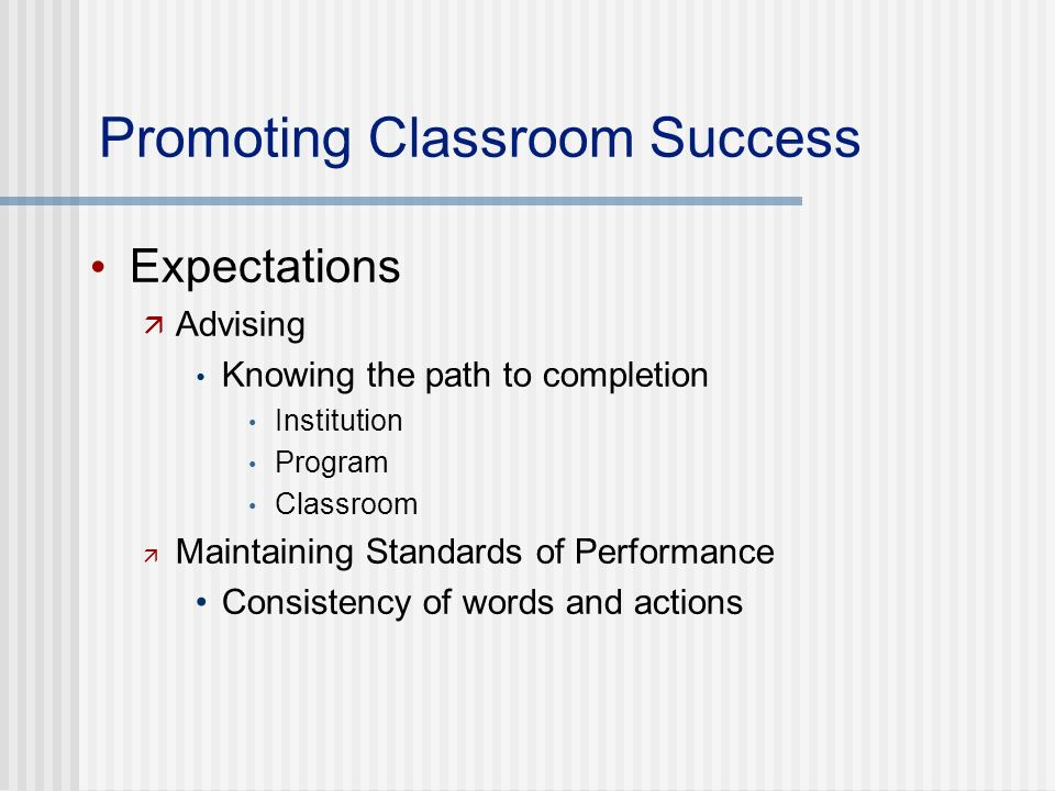 Promoting Classroom Success Expectations Advising Knowing the path to completion Institution Program Classroom Maintaining Standards of Performance Consistency of words and actions