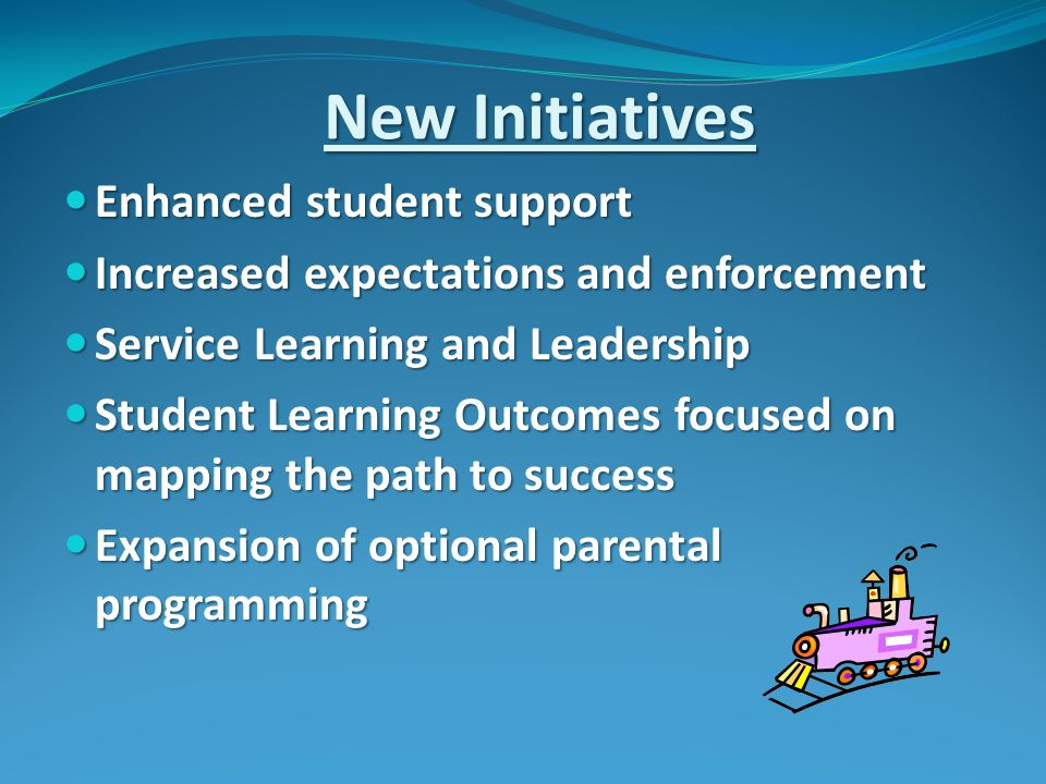 New Initiatives Enhanced student support Enhanced student support Increased expectations and enforcement Increased expectations and enforcement Service Learning and Leadership Service Learning and Leadership Student Learning Outcomes focused on mapping the path to success Student Learning Outcomes focused on mapping the path to success Expansion of optional parental programming Expansion of optional parental programming