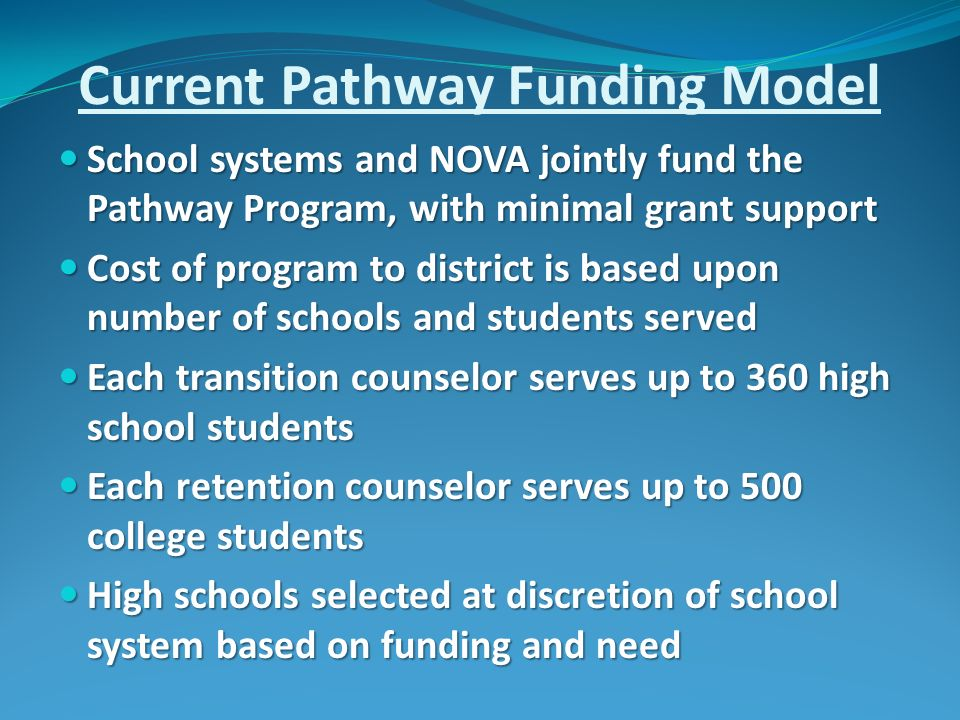 Current Pathway Funding Model School systems and NOVA jointly fund the Pathway Program, with minimal grant support School systems and NOVA jointly fund the Pathway Program, with minimal grant support Cost of program to district is based upon number of schools and students served Cost of program to district is based upon number of schools and students served Each transition counselor serves up to 360 high school students Each transition counselor serves up to 360 high school students Each retention counselor serves up to 500 college students Each retention counselor serves up to 500 college students High schools selected at discretion of school system based on funding and need High schools selected at discretion of school system based on funding and need