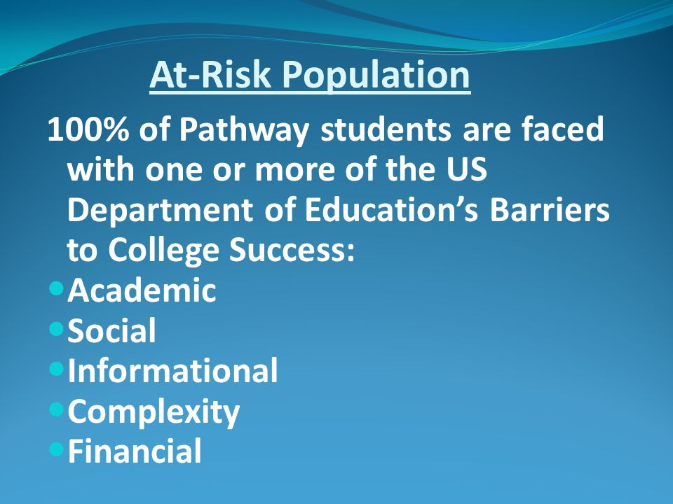 At-Risk Population 100% of Pathway students are faced with one or more of the US Department of Educations Barriers to College Success: Academic Social Informational Complexity Financial