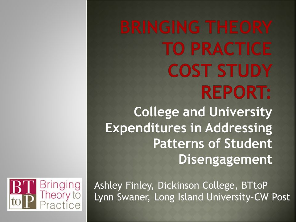 College and University Expenditures in Addressing Patterns of Student Disengagement Ashley Finley, Dickinson College, BTtoP Lynn Swaner, Long Island University-CW Post