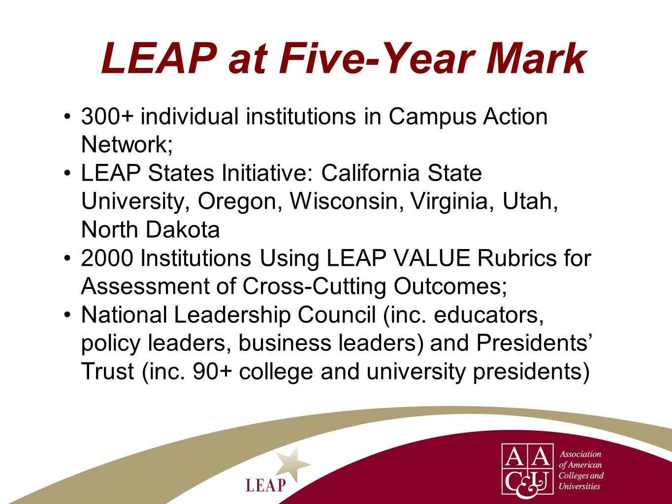 LEAP at Five-Year Mark 300+ individual institutions in Campus Action Network; LEAP States Initiative: California State University, Oregon, Wisconsin, Virginia, Utah, North Dakota 2000 Institutions Using LEAP VALUE Rubrics for Assessment of Cross-Cutting Outcomes; National Leadership Council (inc.